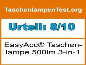 EasyAcc Taschenlampe 500lm 3-in-1-Testergebnis